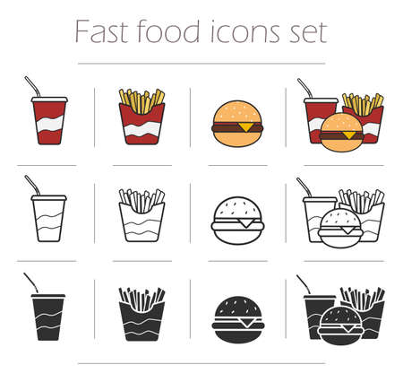 food icons: Fast food vector icons set. Color, linear and silhouette restaurant menu symbols isolated on white. Unhealthy eating clip art Illustration