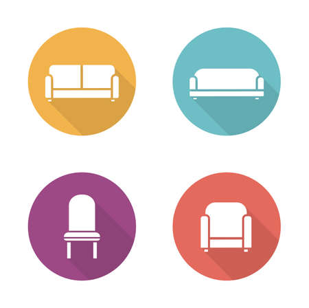 cushioned: Soft furniture flat design icons set. Cushioned living room sofa. Home interior upholstery chair. Furnishing couch and armchair illustrations. Vector long shadow silhouette user interface symbols Illustration