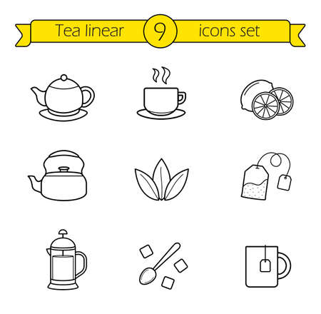 Tea linear icons set. Cafe hot drinks thin line menu illustrations. Black and green tea with sliced lemon. French press teapot contour symbol. Sugar cubes with spoon. Vector isolated outline  drawings