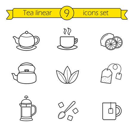 Thee lineaire iconen set. Café warme dranken dunne lijn menu illustraties. Zwarte en groene thee met plakjes citroen. Franse pers theepot contour symbool. Suikerklontjes met lepel. Vector geïsoleerd overzichtstekeningen