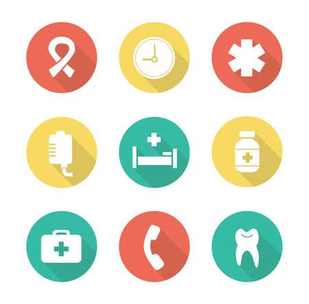 ambulancia: Iconos del dise�o plano m�dicas. centro de salud hospital. Los primeros auxilios botiqu�n pictograma larga sombra. Estrella de la vida ambulancia s�mbolo silueta. Cl�nica de los elementos del vector de infograf�a
