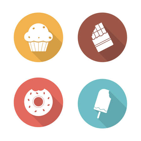 bitten: Sweets flat design icons set. Confectionery long shadow symbols in color circles. Ice cream on stick, and bitten glazed donut silhouette emblems. Baking and chocolate bar. Vector infographics elements