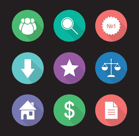 favorite colour: Business flat design icons set. Commerce and marketing long shadow silhouette symbols. Web store interface. Marketing and e-commerce round color illustrations. Vector infographics elements Illustration