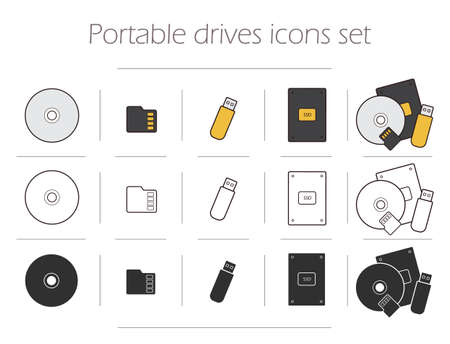 mobile accessories: Portable drives icons set. Digital storage devices silhouettes. Data holders electronics accessories linear symbols. Pocket usb stick. Mobile micro sd card. Compact disk. Computer hard drive. Vector Illustration