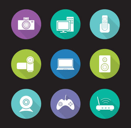 consumer electronics: Consumer electronics flat design icons set. Desktop digital devices long shadow  symbols. Modern house appliances items. Wifi router and webcam silhouette illustrations. Vector infographics elements