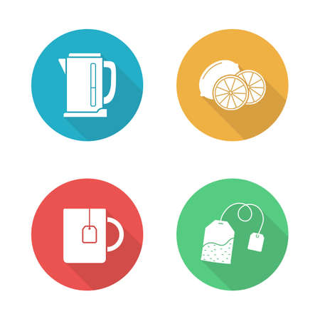 electric tea kettle: Tea flat design icons set. Sliced lemon in yellow circle. Hot teacup with hanging teabag. Electric kettle long shadow silhouette symbol. Household tea appliances set. Vector infographics elements