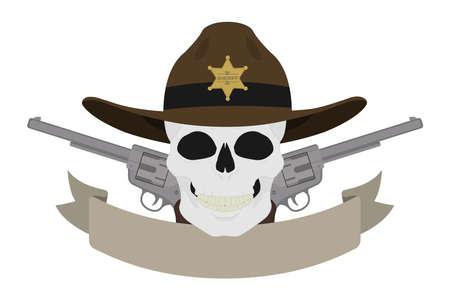 vaquero: Salvaje emblema sheriff del oeste. Cr�neo en sombrero y dos rev�lveres con la cinta de texto. cr�neo occidental y pistolas logotipo de la vendimia. insignia del vaquero con la estrella de sheriff y armas de fuego. ilustraci�n vectorial de color aislado
