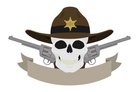 Wild west sheriff emblem. Skull in hat and two revolvers with text ribbon. Western skull and pistols vintage logo. Cowboy badge with sheriff star and guns. Isolated color vector illustration
