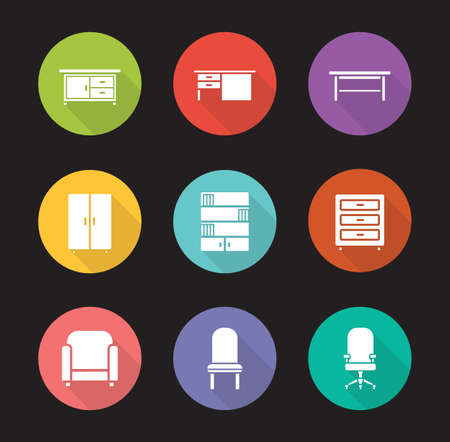 Furniture flat design icons set. Modern living room interior decoration elements. Office computer chair and desk long shadow symbols. Home bookcase and cabinet emblems. Vector infographics elements Vettoriali
