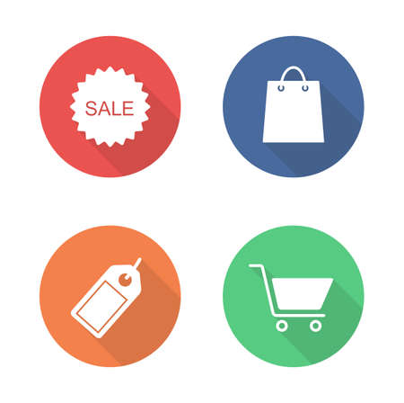 Shopping flat design icons set. Retail market long shadow circle symbols. Web shop white banners. Online store badges. Supermarket and commerce infographic elements. Grocery vector pictograms Stock Illustratie