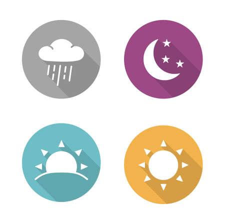 noche y luna: Tiempos de iconos del diseño plana días establecidos. Salida y sol larga sombra siluetas blancas ilustraciones. Infografía redondas días soleados y lluviosos elementos con llover nubes y sol. Símbolos del vector Vectores