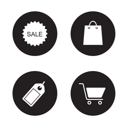 e store: Shopping icons set. Mall and supermarket white color symbols. Web store and e-commerce silhouette emblems. Sale sticker and discount price tag black emblems. Trade signs. Retail shop vector labels