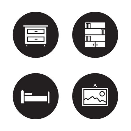 bedside: Bedroom furniture black icons set. Bedside table and wall picture in frame. Home living room interior decor items. Classic bookcase and bed white silhouette illustration. Vector infographics elements