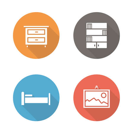 furnishing: Bedroom flat design icons set. Interior decor long shadow silhouettes. House indoor furnishing symbols. Wall painting and bookcase round color pictograms. Room furniture  vector infographics elements Illustration