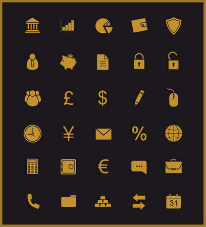 financial security: Finance and banking silhouette icons set. Vip customer online service. Gold user interface. Commercial and business website pictograms. Bank and stock market vector golden symbols isolated on black Illustration