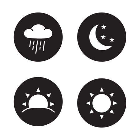 Time of day black silhouette icons. Weather forecast symbols in circles. Rain cloud and sunshine flat emblems. Sunrise and nighttime round pictograms. Day time and night time white color vector signs Vettoriali