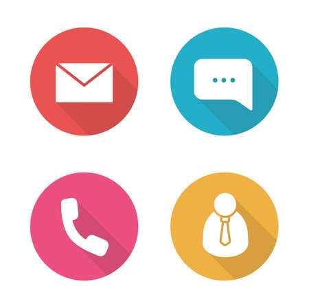 phone support: Tech support flat design icons set. Call center client manager. Live online chat and customer service. Telephone consultation. Office work long shadow silhouette symbols. Vector infographic elements