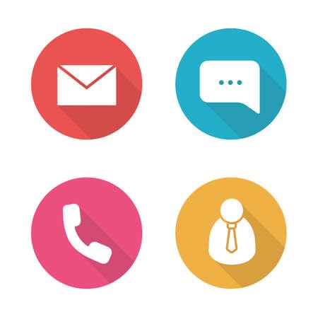Tech support plat design iconen set. Call center client manager. Live online chat en klantenservice. Telefonisch consult. Bureauwerk lange schaduw silhouet symbolen. Vector infographic elementen