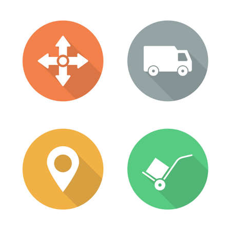 tip style design: Delivery service flat design icons set. Logistics storehouse color signs. Package transportation long shadow symbols. Cargo vehicle and hand truck silhouette labels. Vector infographics elements Illustration