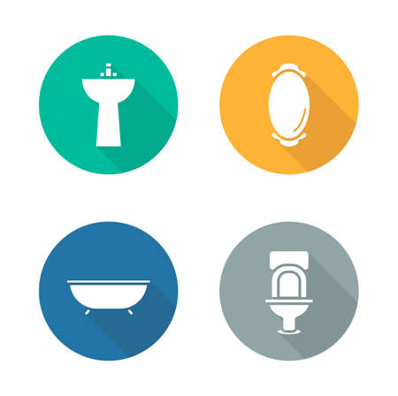 ware: Bathroom interior flat design icons set. Bathtub and sink long shadow symbols. Restroom sanitary ware. Toilet and mirror white silhouette pictograms. Vector infographics elements in color circles