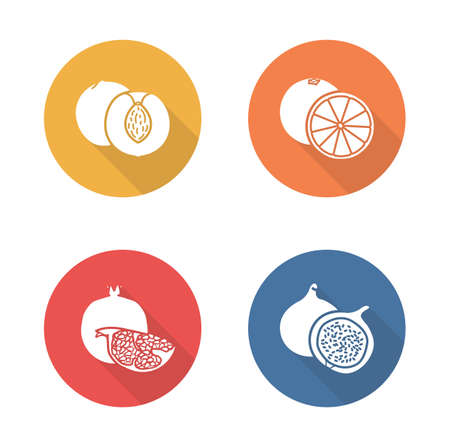pomegranate: Fruits flat design icons set. Half sliced yellow apricot and red pomegranate with seeds. Sweet summer fruits. Vegetarian dessert salad. Long shadow silhouette symbols. Vector infographics elements