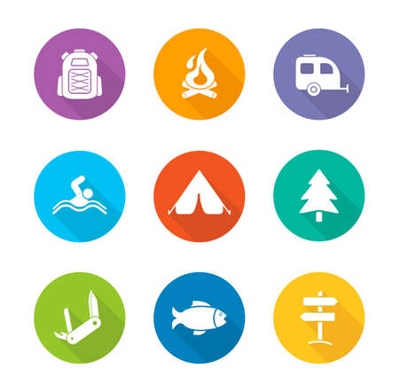 campground: Camping flat design icons set. Traveling long shadow silhouette symbols. Wild nature campground. Tourism and travel color emblems. Trailer, tent and other camp items. Vector infographics elements
