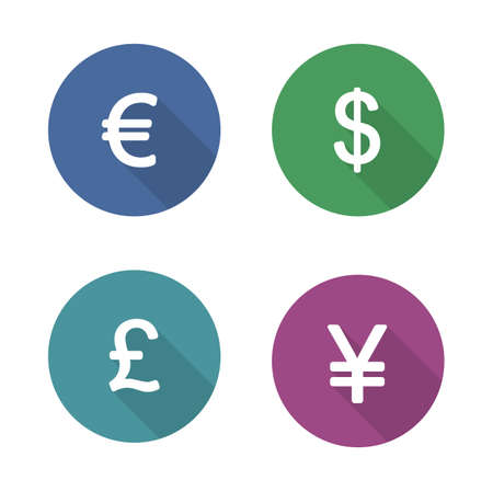 Money Symbols Flat Design Icons Set Currency Long Shadow Silhouette