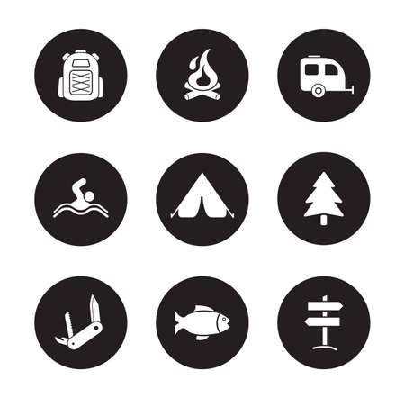 campground: Camping and tourism black icons set. Outdoor recreation white silhouettes symbols. Swimming and fishing monochrome pictograms. Backpacker traveling flat design emblems. Travel equipment icons. Vector Illustration