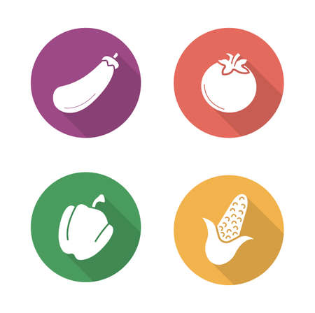 bell tomato: Vegetables flat design icons set. Vegetarian healthy salad ingredients. Raw eggplant and fresh tomato long shadow symbols. Green Bell pepper and yellow corn silhouettes. Vector infographic elements Illustration