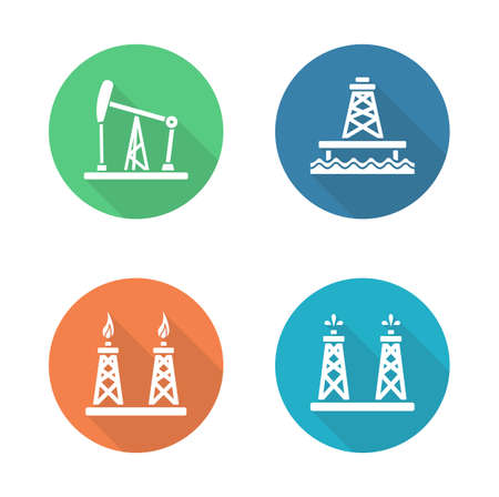 fossil fuel: Oil industry flat design icons set. Gas and fuel production platforms. Petroleum offshore sea well. White color silhouette symbols. Fossil fuel chink. Industrial vector infographic elements