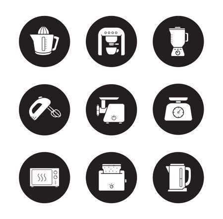 meat  grinder: Kitchen electronics icons set. Modern home kitchen devices silhouette symbols. Kitchenware tools white illustrations on black circles. Meat grinder and electric kettle. Vector infographics elements