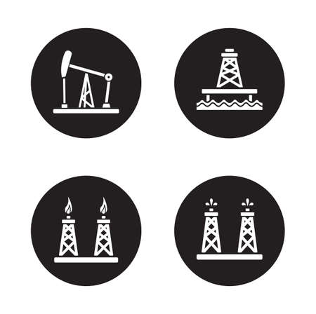 Oil drilling black icons set. Gas and fuel platform. Oil rig and offshore sea well white silhouette illustrations on black circles. Petroleum production industry. Vector infographics elements