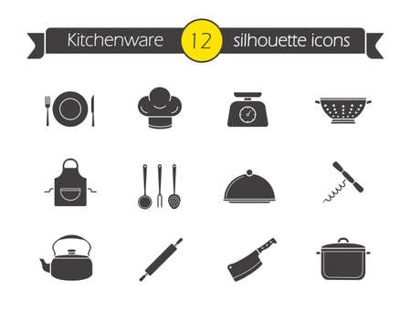 strainer: Kitchen tools silhouette icons set. Household kitchen items. Kitchenware black symbols. Restaurant cooking utensil. Chef hat and butcher cleaver emblem. Corkscrew opener. Isolated vector illustrations Illustration