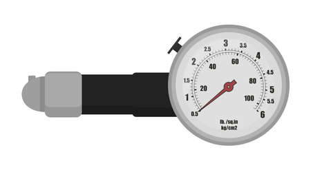 analogue: Tire pressure gauge illustration. Automobile compression checking device. Car diagnostic pressure-gauge tool. Automotive analogue measuring  instrument. Vector color clip art isolated on white