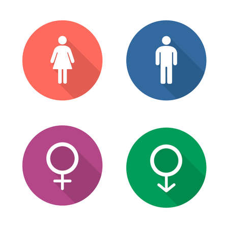 sex symbol: Gender symbols flat design icons set. Wc entrance man and woman long shadow emblems in color circles. Male and female silhouette toilet door signs. Boy and girl pictogram. Vector infographics elements