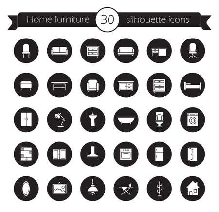 Conjunto de iconos de muebles. interiores de decoración del hogar de diseño de símbolos. artículos para el hogar en el interior. mobiliario de casa y objetos sanitarios. Vector moderno de sala de siluetas pictogramas en círculos negros