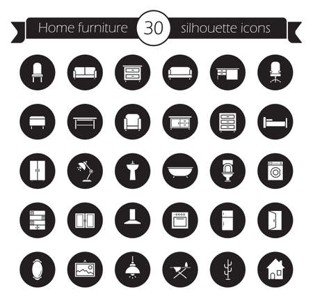 kitchen cabinet: Furniture icons set. Home interior decoration design symbols. Indoors household items. House furnishing and sanitary objects. Modern room vector silhouettes pictograms in black circles