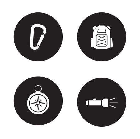 mountaineering: Hiking equipment black icons set. Travel and exploration flat design silhouette illustrations. Mountaineering carabiner tool and tourist backpack. Compass and flashlight items. Vector infographics Illustration