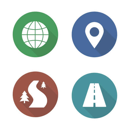 cartography: Map navigation flat design icons set. Cartography travel markers. Logistics application interface symbols. Gps location pin mark. City road and offroad long shadow silhouette signs. Vector infographic