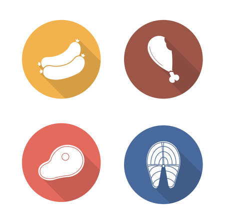 fried fish: Barbecue meat flat design icons set. Grilled salmon fish fillet and sausages long shadow symbols in color circles. Beef steak and fried chicken leg silhouette emblems. Vector infographics elements