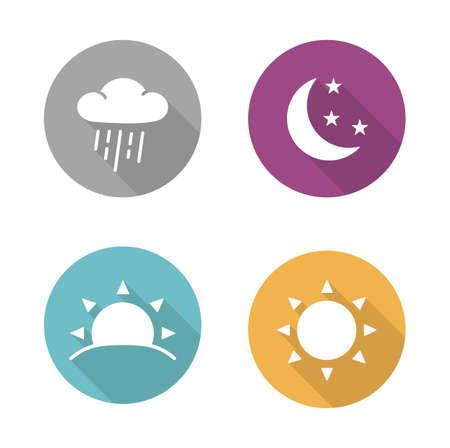 Times of day flat design icons set. Sunrise and sunshine long shadow white silhouettes illustrations. Sunny and rainy day round infographics elements with raining cloud and sun. Vector symbols