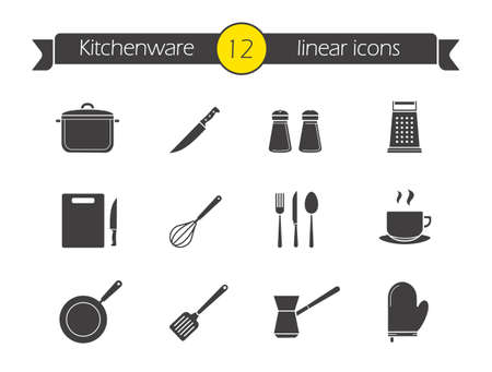 cooking utensil: Kitchenware silhouette icons set. Household kitchen tools. Salt and pepper shakers black symbols. Chef cooking tools. Spatula, whisk and utensil. Vector restaurant illustrations isolated on white