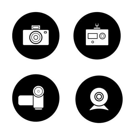 slr: Digital cameras black icons set. Slr vintage photocamera and modern action camera circle symbols. Video and webcam white silhouettes illustrations. Optical multimedia equipment. Vector