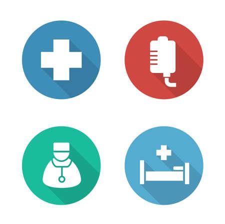 Krankenhaus flache Design-Icons gesetzt. Medizinische Tropfenzähler und Arzt weiß Silhouette Abbildungen auf Farbe Kreisen. Hospitalisierung und Erste-Hilfe-Klinik runden Symbole. Vector Infografiken Elemente