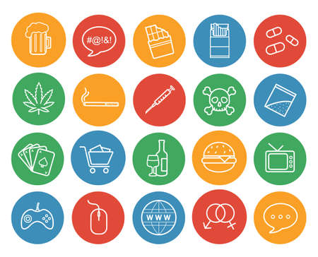 Bad habits color linear icons set. Abuse and addictions round outline symbols. White line art illustrations on color circles. Destructive lifestyle items. Vector infographics elements 矢量图像