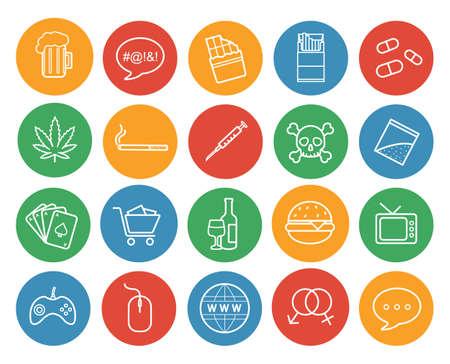 drogadiccion: establecen los malos hábitos iconos de color lineal. Abuso y adicciones redondas símbolos de esquema. Ilustraciones línea blanca en los círculos de color. artículos de estilo de vida destructivo. Infografía elementos vectoriales Vectores
