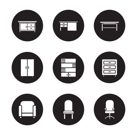 livingroom: Furniture black icons set. Modern living room interior decoration items. White silhouettes illustrations on black circles. Office and living-room objects. Vector infographics elements Illustration