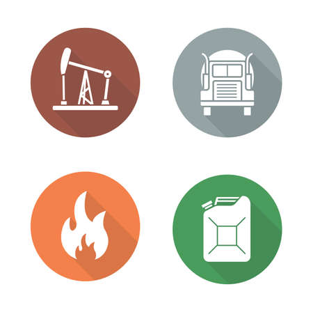 Gasoline flat design icons set. Oil and petrol production long shadow symbols. Benzine jerrycan and flammable signs. Oil well and trucking white silhouette illustrations. Vector infographics elements