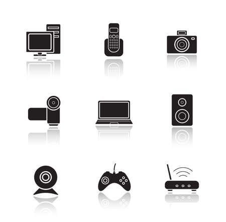 cast: Electronic equipment drop shadow icons set. Digital photo and video cameras. Black cast shadow silhouettes illustrations isolated on white. Computer technology items. Vector infographics elements