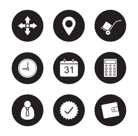 tracking: Transportation service black icons set. Shipping and logistic. Online package tracking. Delivery service customer support interface. White silhouettes illustrations. Vector infographics elements